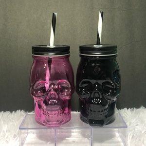 Brand new SKULL Glass Mason DAY OF THE DEAD